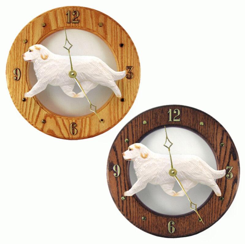 Clumber Spaniel Wood Clock Orange