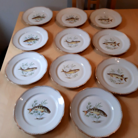Vintage set of fish plates and platter