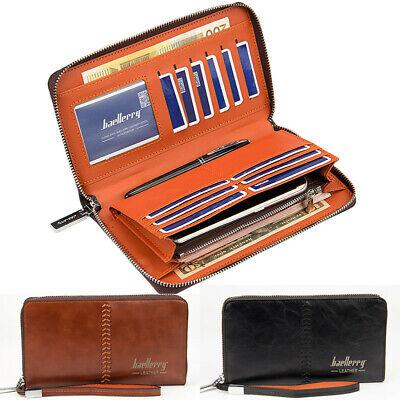 Men Leather Bifold Credit Card Holder Clutch Zippered Wallet Checkbook Wristlet Credit Card Checkbook Wallet