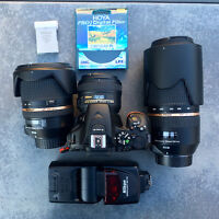 camera plus 3 lenses and flash and accessories