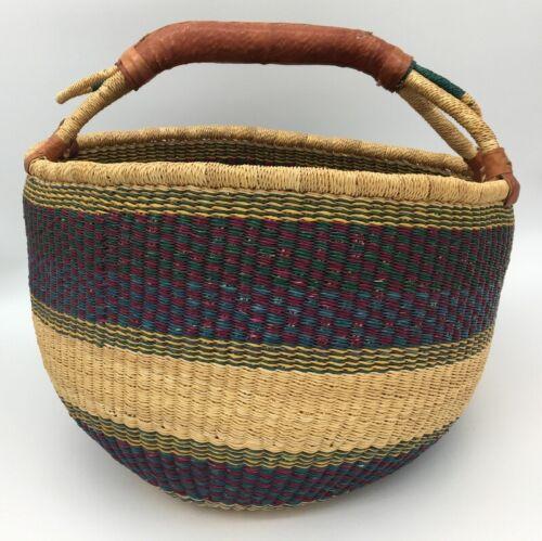 """Large African Bolga Ghana Market Basket 16"""" Across Very Nice Clean Natural"""