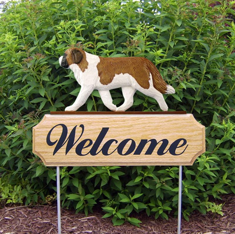 Saint Bernard Wood Welcome Outdoor Sign