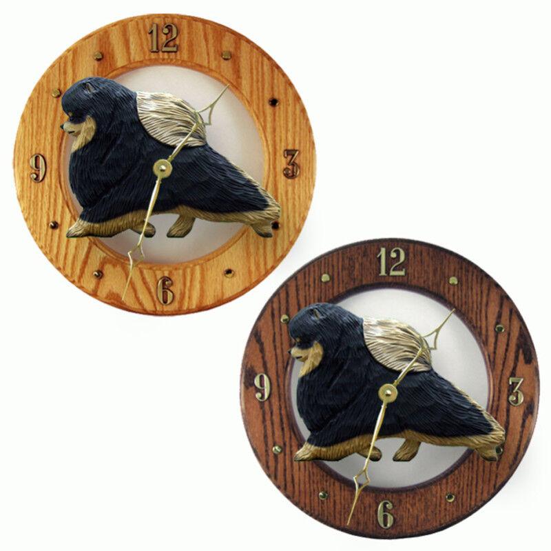 Pomeranian Wood Clock Blk/Tan