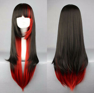 NEW: Deluxe Straight Gradient Black-Red Cosplay Wig (467-0896)