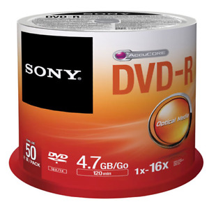 Sony 16X 4.7GB DVD-R Spindle - 50 Pack (Blank DVD Media DVD-R)