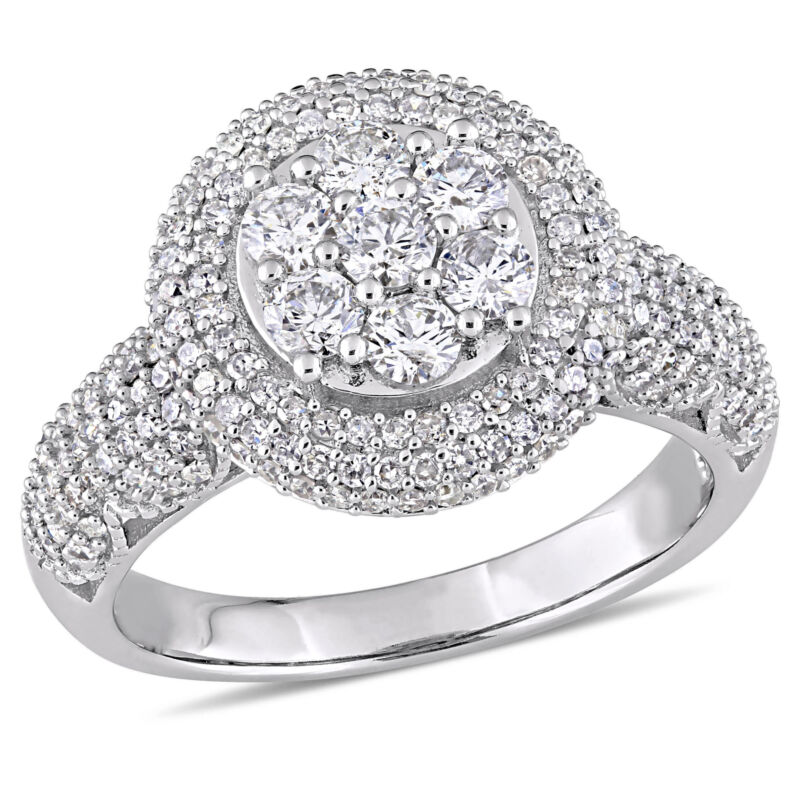 Amour 2 Ct Tw Diamond Cluster Halo Engagement Ring In 10k White Gold