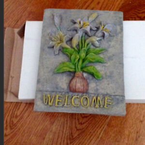 NEW hand painted decorative ceramic WELCOME sign/plaque