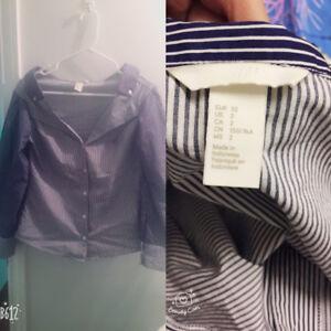 Striped off-the-shoulder shirt.