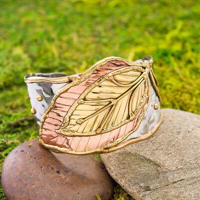 (Bella Leaf Mixed Metal Cuff Bracelet Stainless Steel, Brass + Copper Handmade )