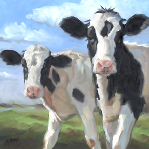 Cow Oil Painting, Holstein Black and White Cows for a Modern