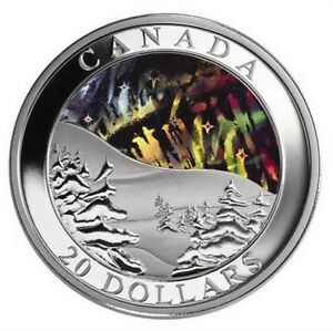 2004 Northern Lights - Pure Silver Coin w/ Hologram Finish