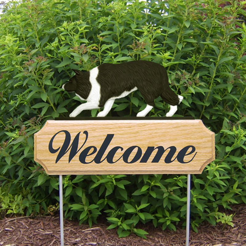 Border Collie Wood Welcome Outdoor Sign Black