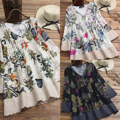 US Women Ladies Mini Dress Vintage Long Sleeve Tunic Floral Plus Size Plain Tops (Mini Vintage Tunic)