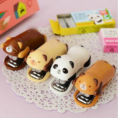 1set Mini Cartoon Animal Pattern Stapler Office School Supplies Desk Accessory