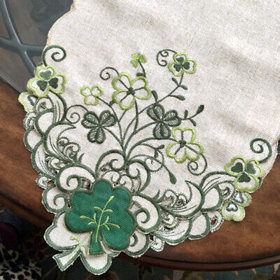 """St Patrick's Day Decor SHAMROCK Green Clover Embroidered Table Runner 70""""x 13"""""""
