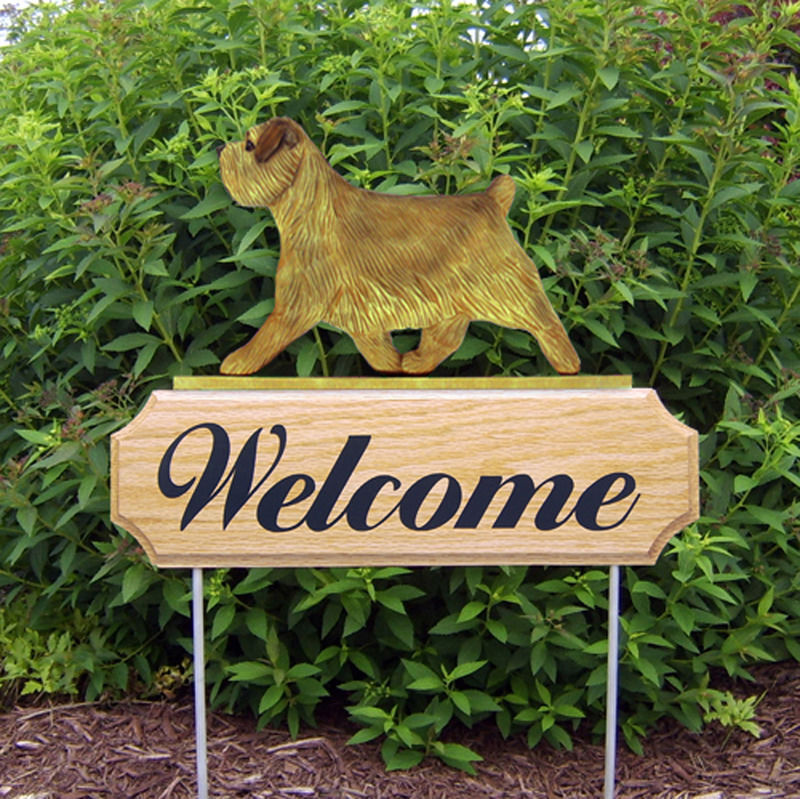 Norfolk Terrier Wood Welcome Outdoor Sign Grizzle