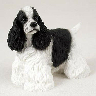 (Cocker Spaniel Figurine Hand Painted Collectible Statue Black & White)