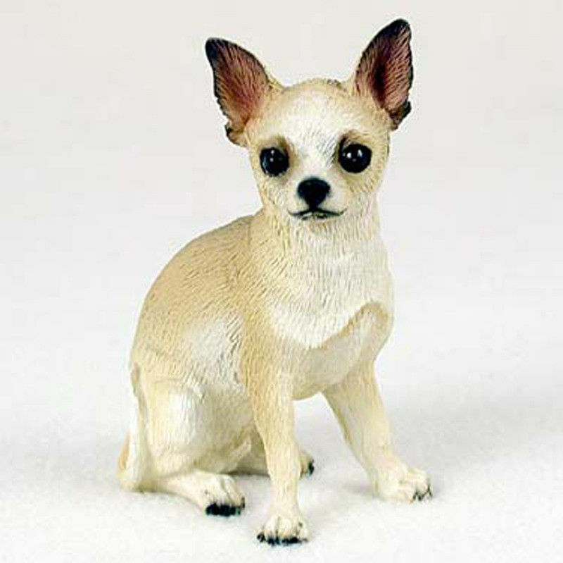 Chihuahua Figurine Hand Painted Collectible Statue White/Tan