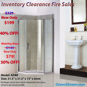 One stop for Conner Glass shower door+Tray Base+Drain