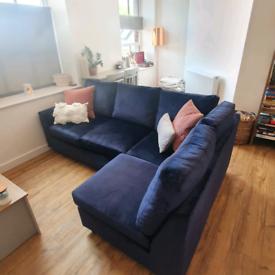 Navy Velvet Corner Sofa