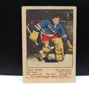 CHUCK RAYNER .... 1951-52 Parkhurst .... ONLY ROOKIE CARD