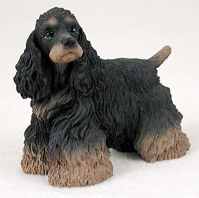 (Cocker Spaniel Figurine Hand Painted Collectible Statue Black/Brown)