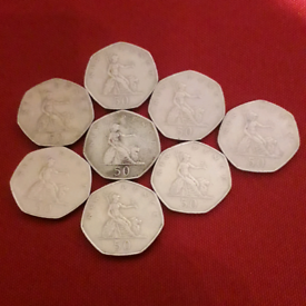 8 old Large 50p NEW PENCE coins