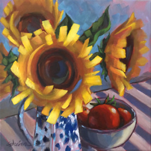 Sunflower Oil Painting, Yellow Floral Display 12×12 inches 30cm,