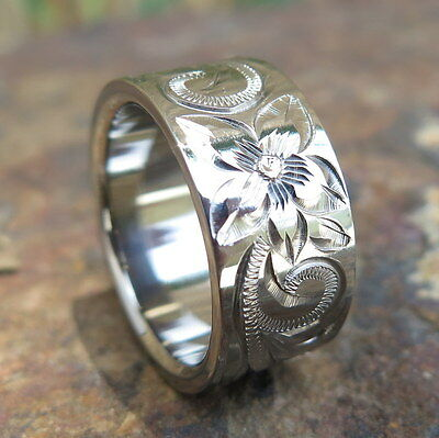 (Hawaiian Jewelry Titanium Flower Scrolling Wedding Ring Band 10mm TIR1021)