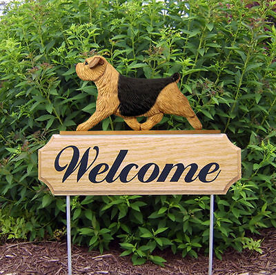 Norfolk Terrier Dog Breed Oak Wood Welcome Outdoor Yard Sign Black & Tan