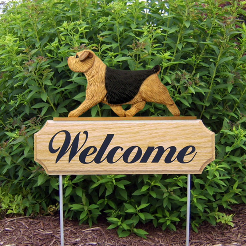 Norfolk Terrier Wood Welcome Outdoor Sign Black & Tan