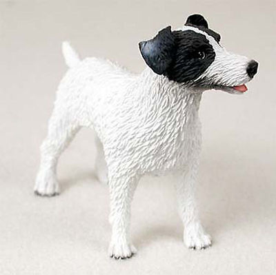 Jack Russell Rough - Jack Russell Figurine Hand Painted Statue Black/White Rough