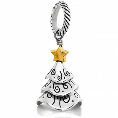 Christmas Tree Star Charm - New Brighton TINSEL TREE Charm Silver Gold Star 4 Christmas Bracelet or Necklace