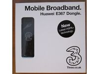 Genuine Huawei E367 mobile broadband DONGLE USB STICK HSPA+ 28.8 Mbps BNIB. On three network