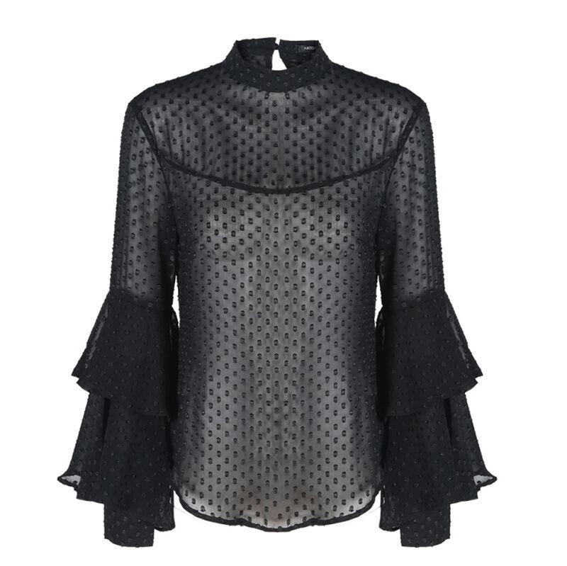 Womens sexy black ruffle bell sleeve slit back sheer for Bell bottom sleeve shirt