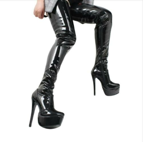 Details about  /42//43//44 Women Over The Knee Thigh High Heel Boots Back Zipper Shoes Nightclub L