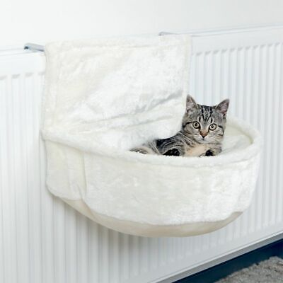 Cat Cuddly Radiator Bag Bed White With Deep Lounging Area Washable Cushion