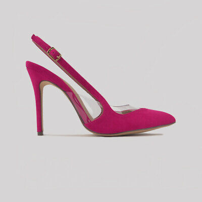 Fuchsia Suede & Clear PVC Panels Pointed Toe Slingback High Heel Pumps Sz 5.5-10