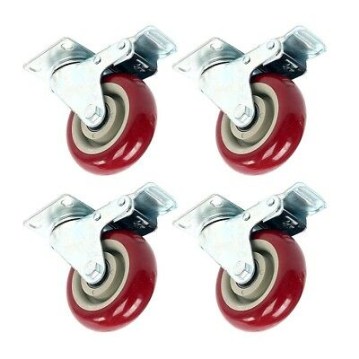 Heavy Duty 4pack 4 Caster Wheels Swivel Plate Total Lock Brake Red Polyurethane