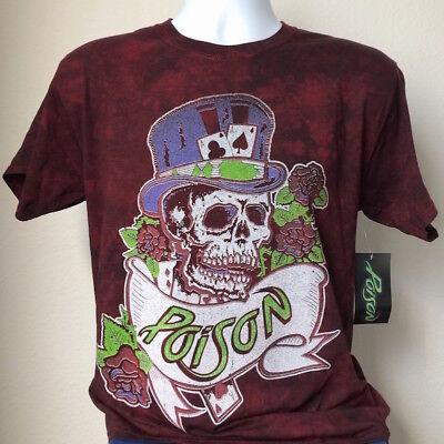 Poison New Vintage Retro Bret Michaels 1987 Cat Tour Skull Album Men's T-Shirt! ()