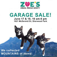 Zoe's animal rescue garage sale