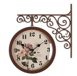 Antique Art Design Double Sided Wall Clock Station Clock Home Decor - Flower2BR