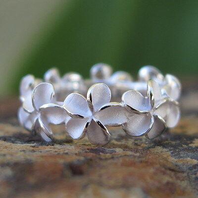 Hawaiian 925 Sterling Silver Plumeria Flower Lei Wedding Ring Band 8mm SR2171 8mm Band Sterling Silver Ring