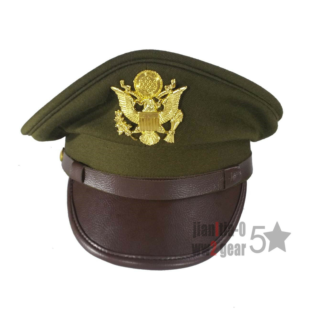 e777cb8c2fe Details about WW2 WWII US Army AirForce Officer Hat Crusher Cap Military  Gold Eagle Insignia