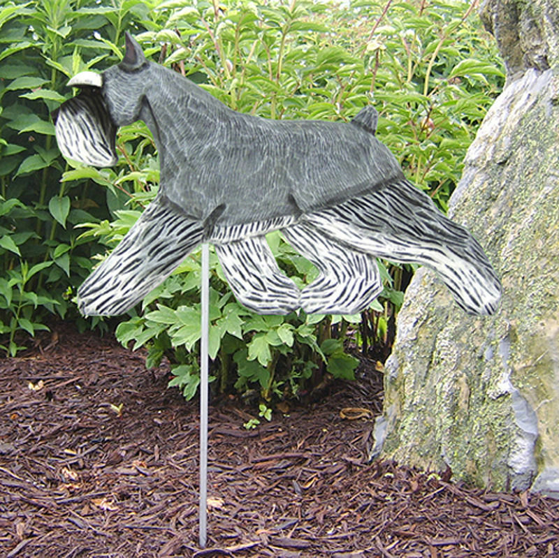 Schnauzer Uncropped Outdoor Garden Dog Sign Hand Painted Figure Salt/Pepper