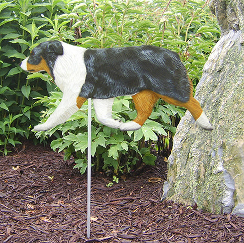 Australian Shepherd Outdoor Garden Dog Sign Hand Painted Figure Blue Merle