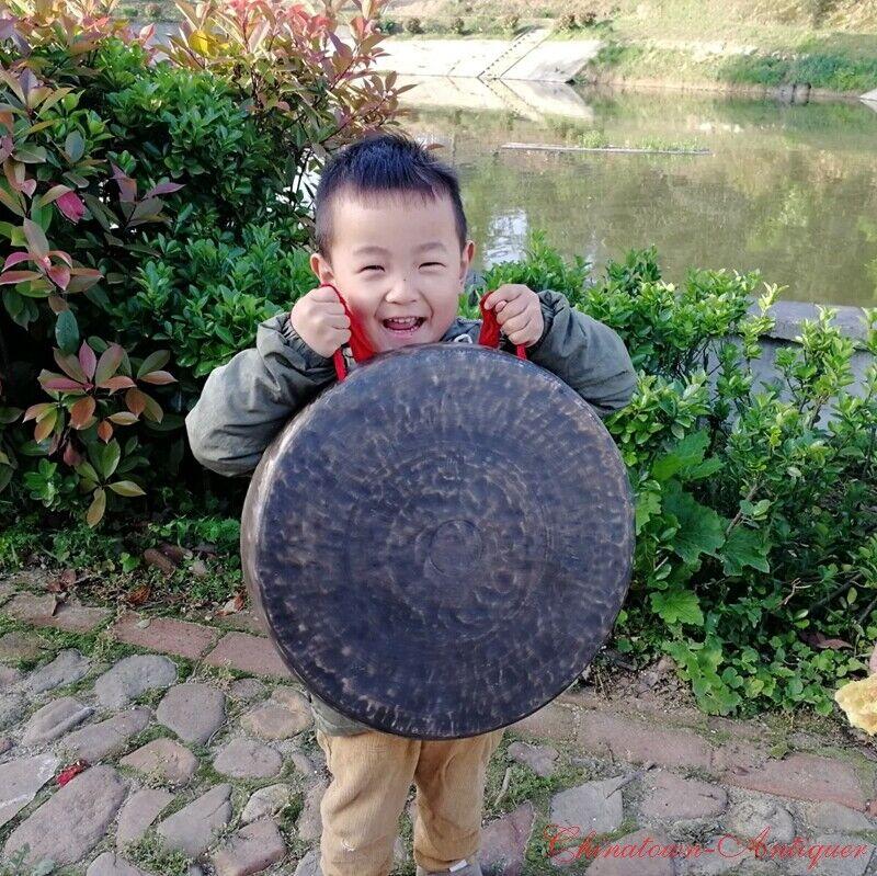 40 cm Tibetan Temple Buddhist Ritual Chinese Lion Gong Bell Bronze Faqi 開道鑼#1614