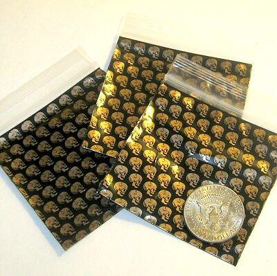 100 Golden Skulls Baggies 3 X 3 Mini Ziplock Bags Apple Brand Reclosable