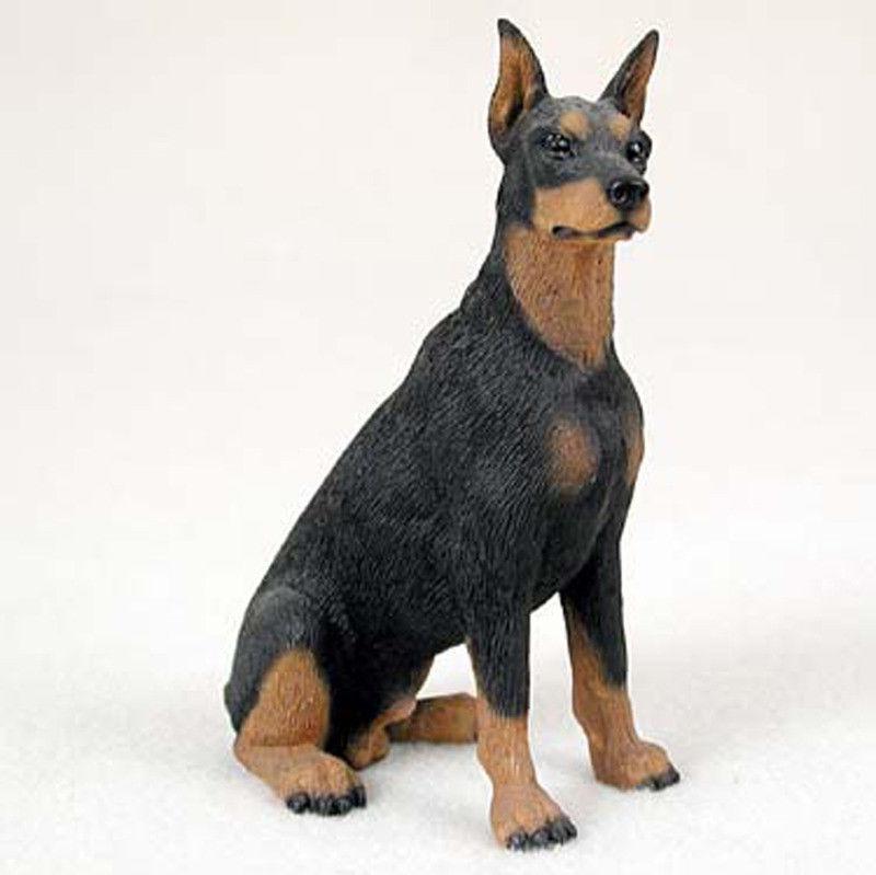 Doberman Pinscher Figurine Hand Painted Statue Black