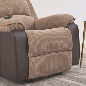Jumbo Cord Fabric Recliner Armchair Loungh Home Electric Reclining